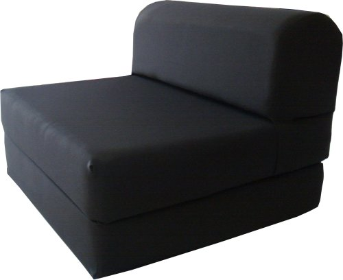 Black Sleeper Chair Folding Foam Bed Sized 6″ Thick X 32″ Wide X 70″ Long St