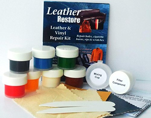 leather restore air dry leather and vinyl repair kit fixes rips scratches holes on furniture. Black Bedroom Furniture Sets. Home Design Ideas